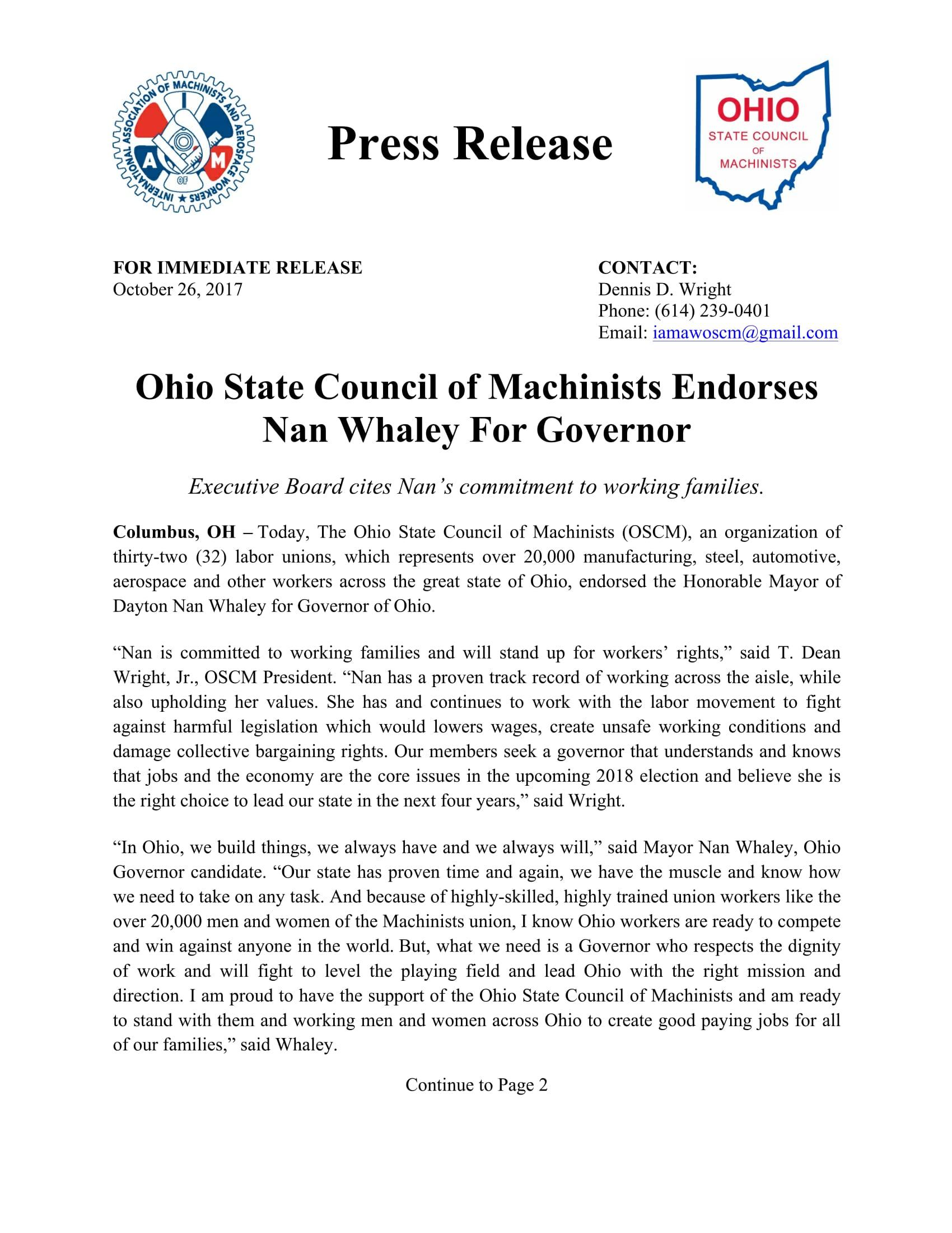 Press Release_OSCM Endorse Nan Whaley For Governor_102617-1