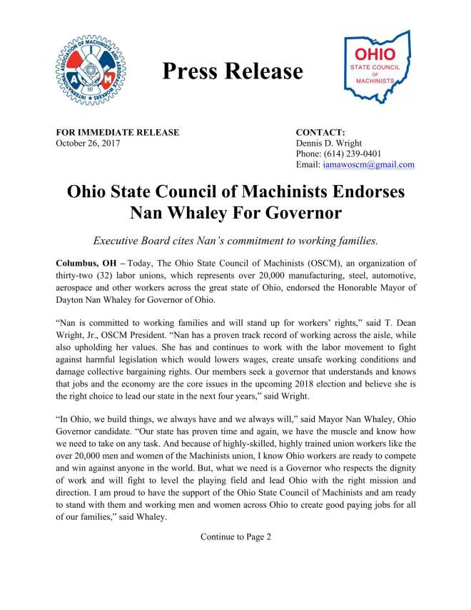 Press Release_OSCM Endorse Nan Whaley For Governor_102617-1